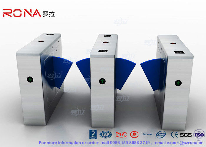 Walk Through Metal Detector Flap Barrier Gate Transparent Wing Flap Optical Turnstile